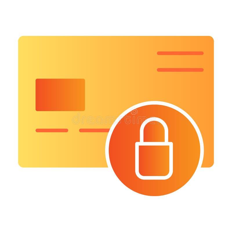 Icona piana bloccata della carta di credito Icone di plastica di colore della serratura e della carta nello stile piano d'avangua illustrazione di stock