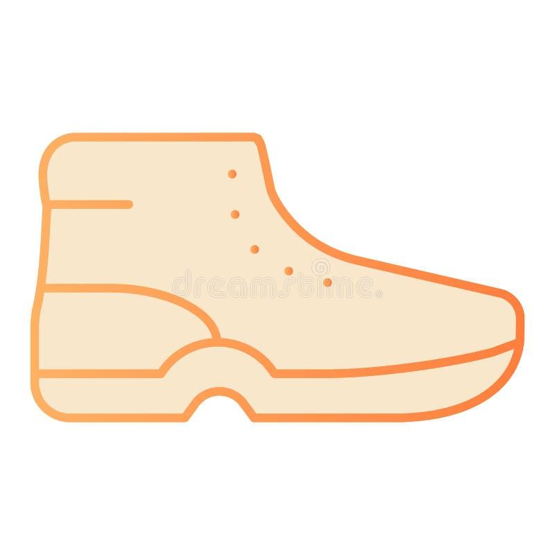 Icona piana degli stivali Icone arancio delle scarpe di sport nello stile piano d'avanguardia Progettazione di stile di pendenza  royalty illustrazione gratis