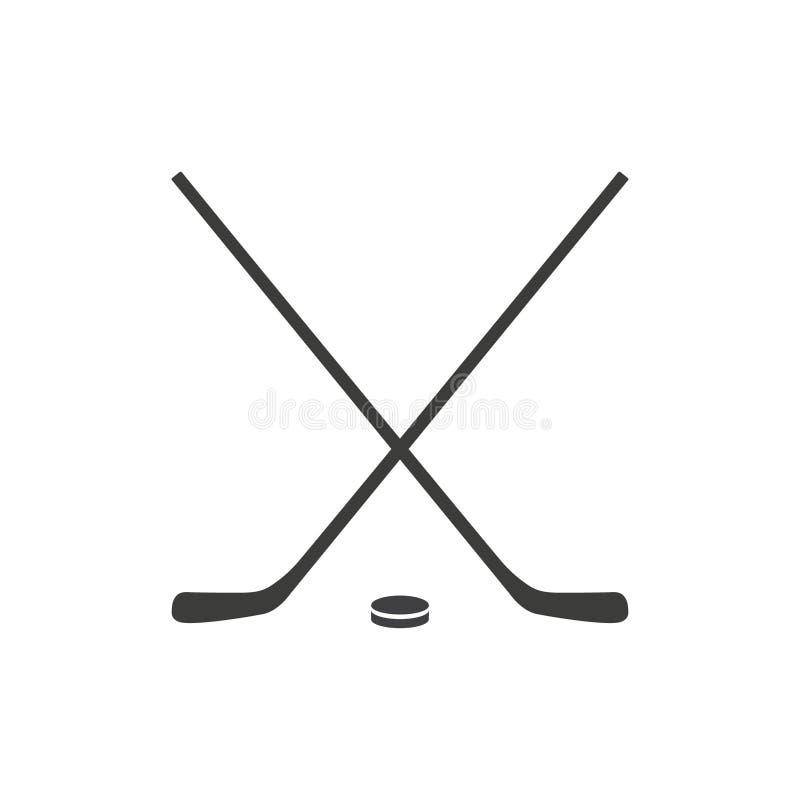 Icona piana del bastone di hockey su fondo bianco Due bastoni di hockey attraversati e un disco Illustrazione di vettore illustrazione di stock