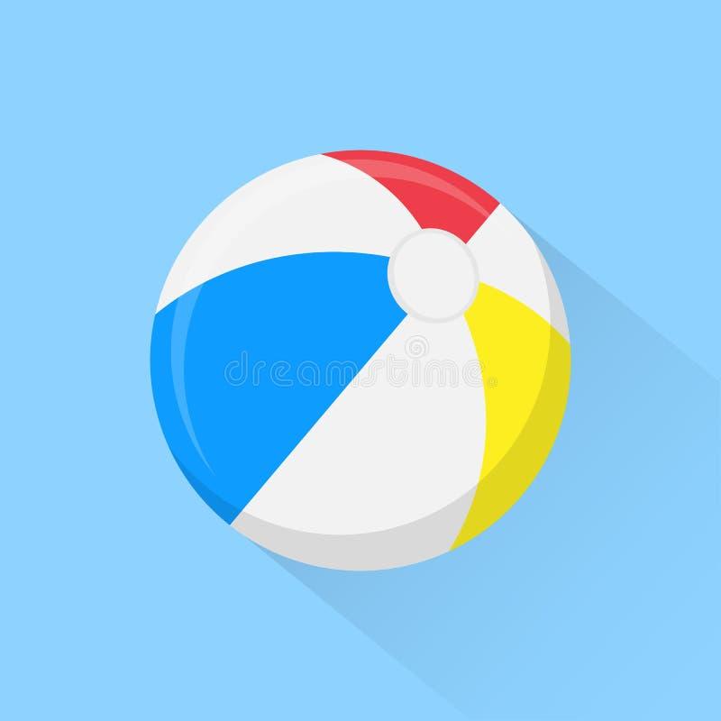 Icona piana del beach ball con ombra lunga su fondo Illustrazione di vettore illustrazione di stock