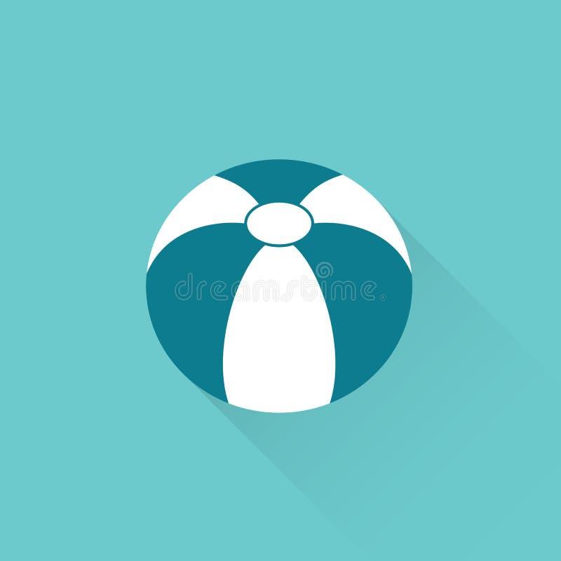 Icona piana del beach ball su fondo blu royalty illustrazione gratis