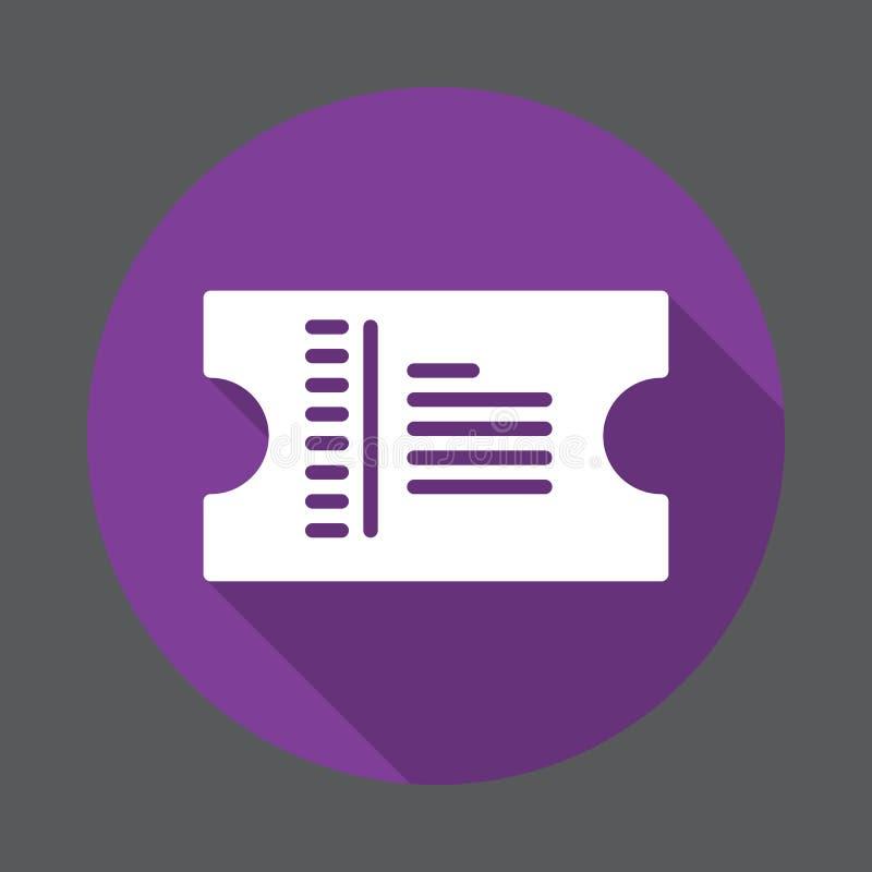 Icona piana del biglietto Bottone variopinto rotondo, segno circolare di vettore con effetto ombra lungo Progettazione piana di s illustrazione di stock