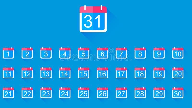 Icona piana del calendario con una rappresentazione rossa del gancio illustrazione di stock