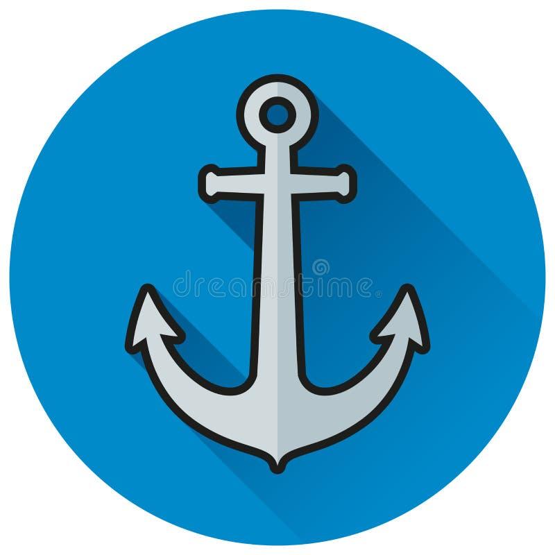 Icona piana del cerchio blu dell'ancora royalty illustrazione gratis