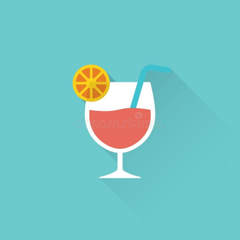 Icona piana del cocktail su fondo blu royalty illustrazione gratis