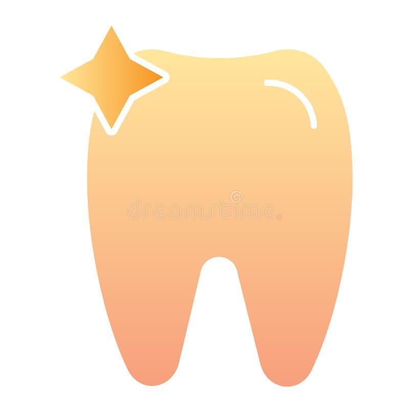 Icona piana del dente Icone di colore dell'ammaccatura nello stile piano d'avanguardia Progettazione di stile di pendenza di odon illustrazione di stock