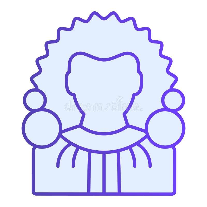 Icona piana del giudice Icone blu del presidente della corte suprema nello stile piano d'avanguardia Progettazione di stile di pe illustrazione di stock