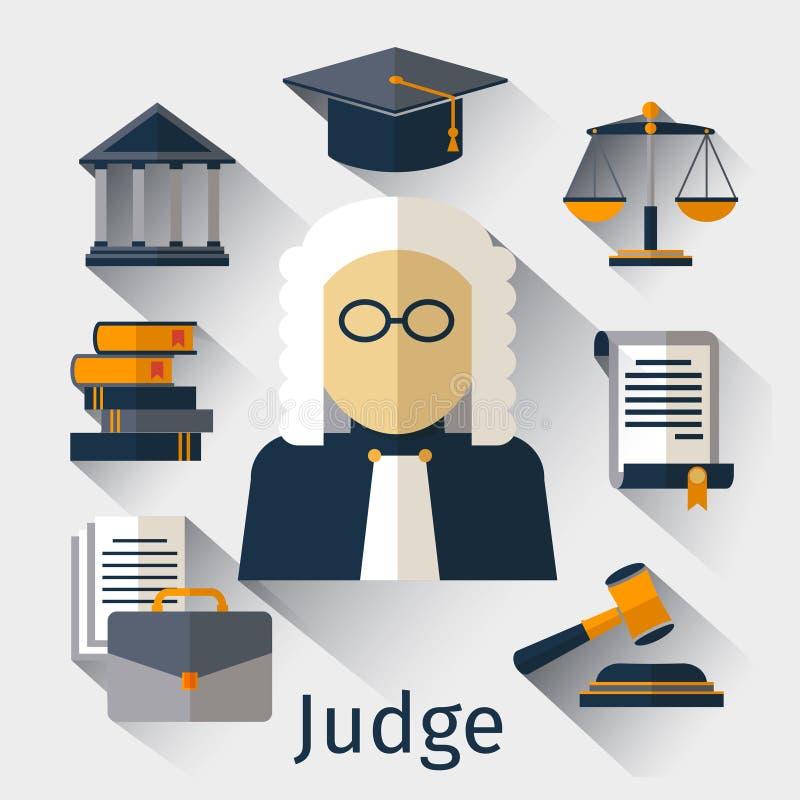 Icona piana del giudice Simboli di vettore della giustizia illustrazione vettoriale