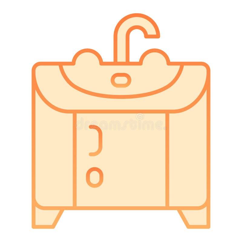 Icona piana del lavandino Icone arancio del lavandino nello stile piano d'avanguardia Progettazione di stile di pendenza della mo illustrazione di stock
