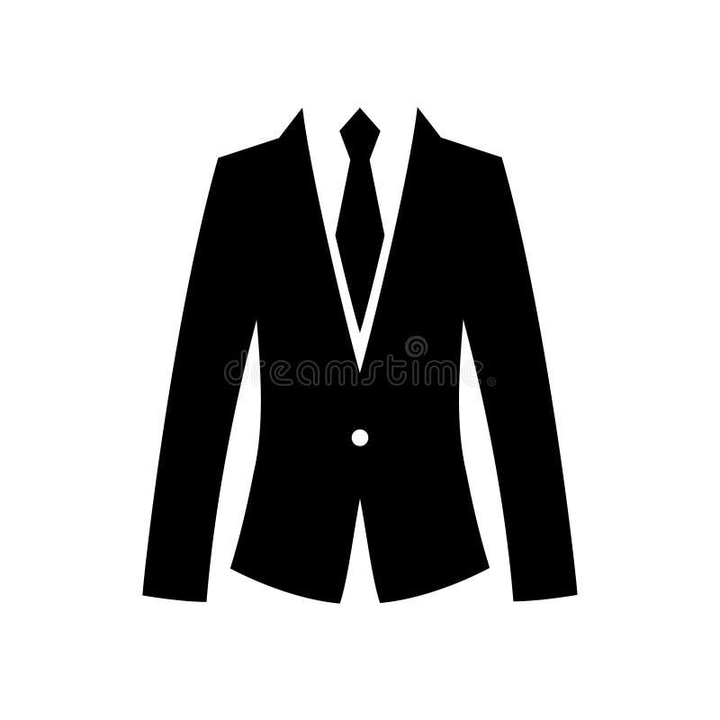 Icona piana del legame e del vestito per il web Siluetta semplice dei signori isolata su fondo bianco Uomo di simbolo di affari n royalty illustrazione gratis