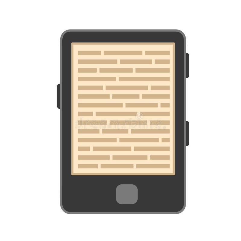 Icona piana del libro elettronico o della compressa di stile sull'illustrazione bianca e di riserva di vettore royalty illustrazione gratis