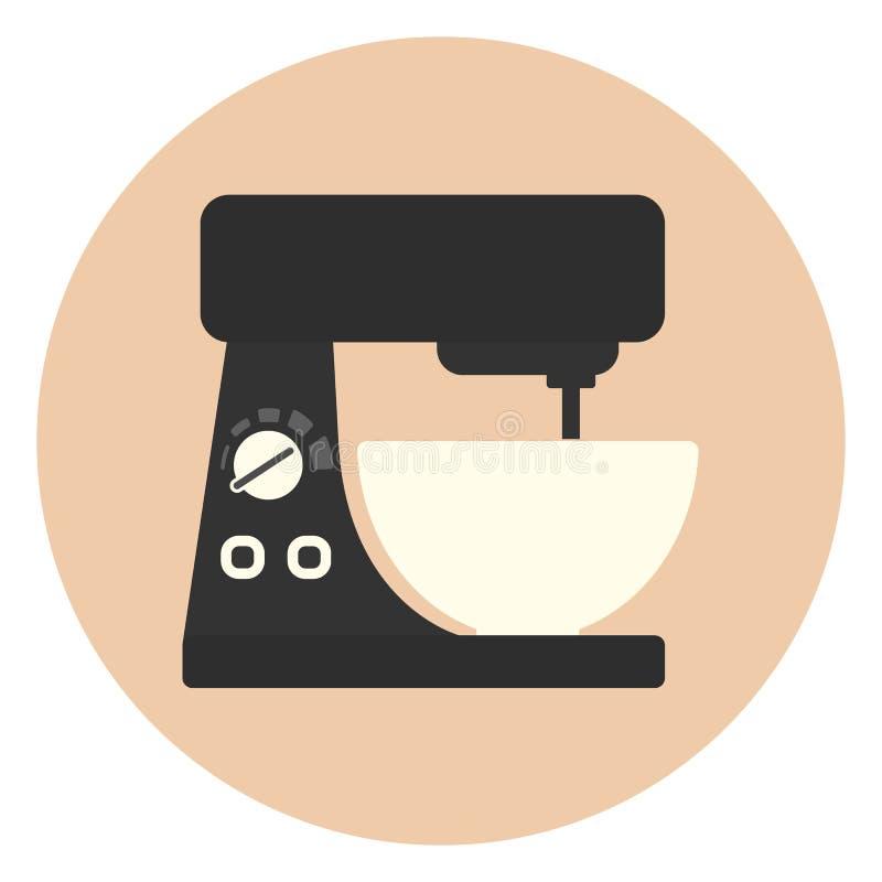 Icona piana del miscelatore della cucina, cucinante attrezzatura royalty illustrazione gratis