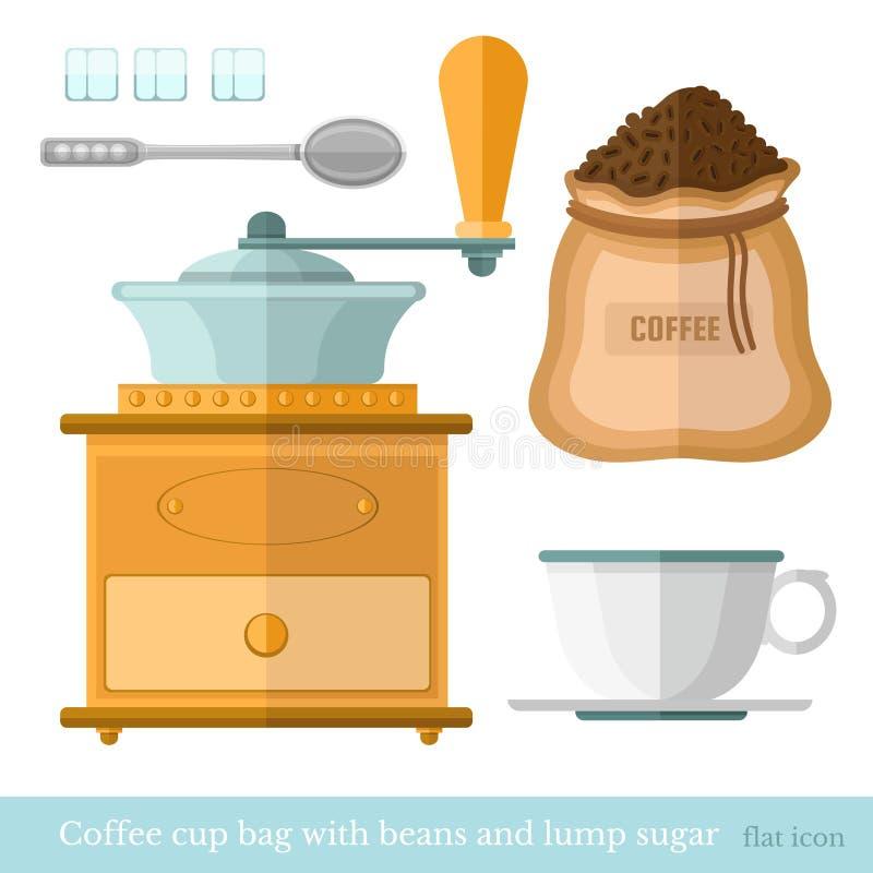 Icona piana del mulino di caffè dei chicchi di caffè dello zucchero di grumo del cucchiaio della borsa della tazza di caffè illustrazione vettoriale