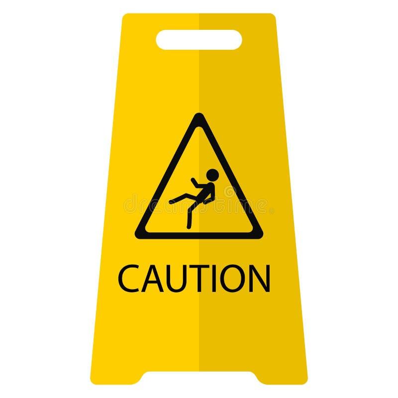 Icona piana del pavimento bagnato di cautela illustrazione di stock