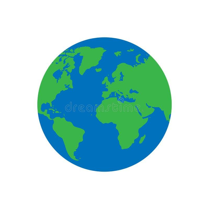 Icona piana del pianeta Terra Isolato su priorità bassa bianca Illustrazione di vettore illustrazione di stock