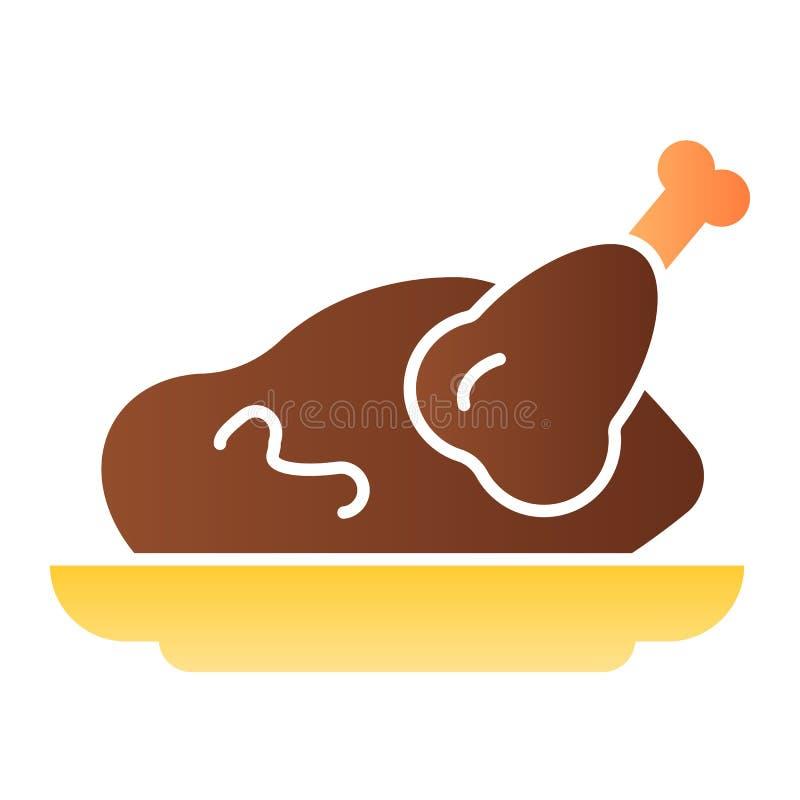 Icona piana del pollo arrosto Icone arrostite di colore del tacchino nello stile piano d'avanguardia Progettazione grigliata di s illustrazione di stock