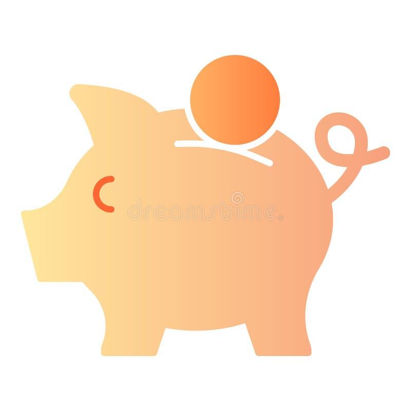 Icona piana del porcellino salvadanaio Icone di colore del maiale nello stile piano d'avanguardia Progettazione di risparmio di s illustrazione vettoriale