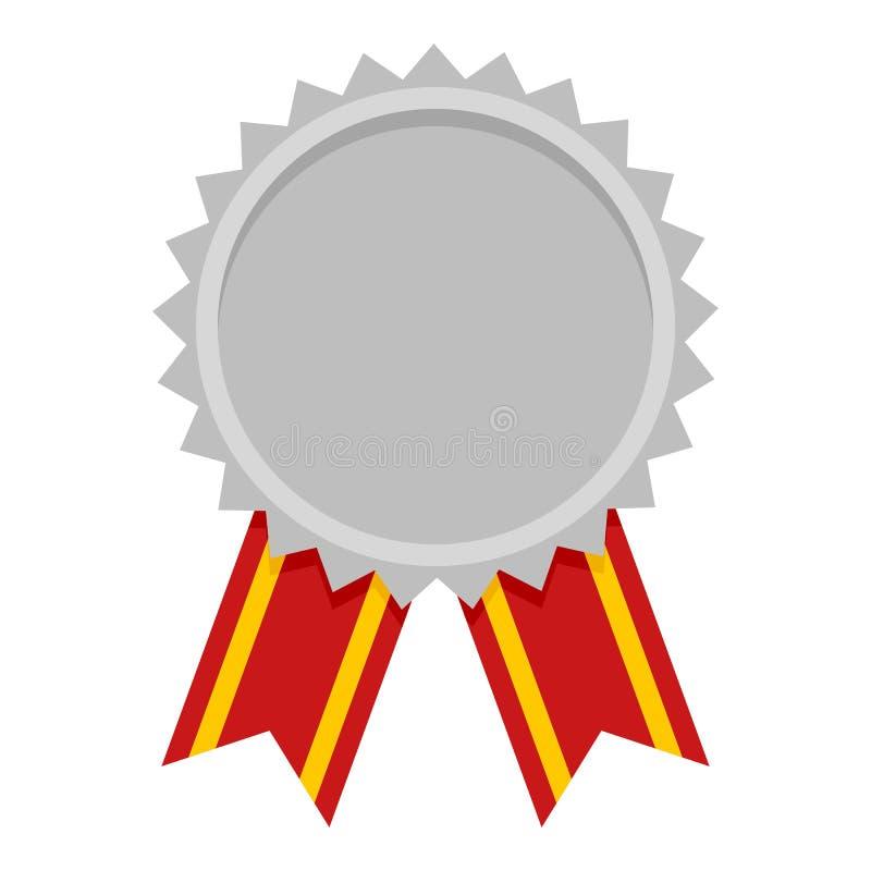 Icona piana del premio della medaglia di argento su bianco illustrazione vettoriale