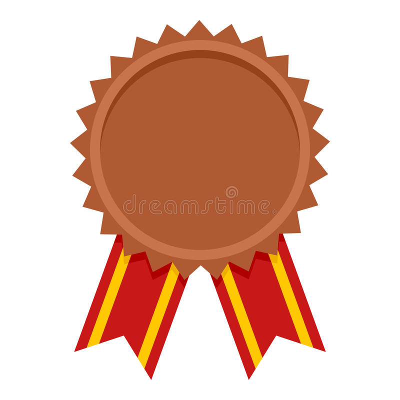 Icona piana del premio della medaglia di bronzo su bianco illustrazione di stock