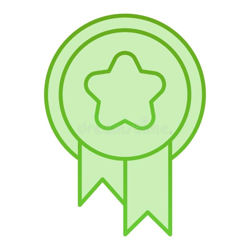 Icona piana del premio Medaglia con le icone di verde del nastro nello stile piano d'avanguardia Progettazione di stile di penden illustrazione di stock