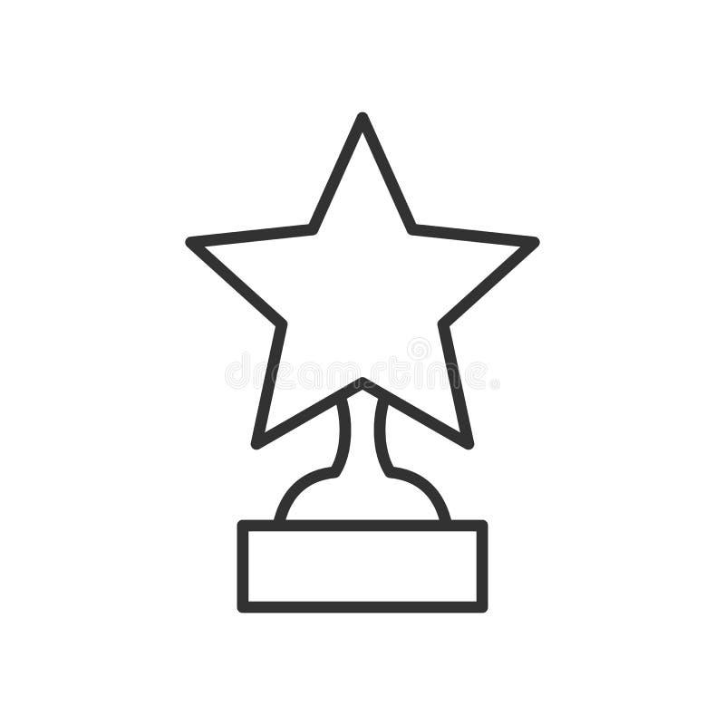 Icona piana del profilo della stella del trofeo su bianco illustrazione vettoriale