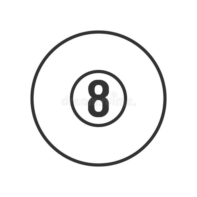 Icona piana del profilo dello stagno del biliardo su bianco royalty illustrazione gratis