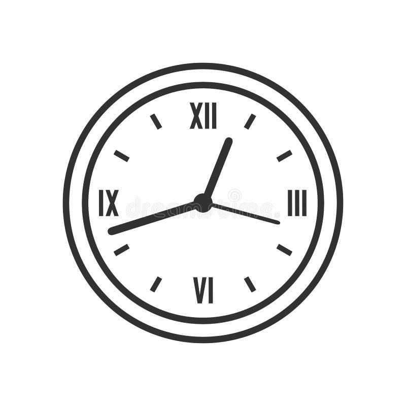 Icona piana del profilo rotondo dell'orologio della parete su bianco illustrazione vettoriale