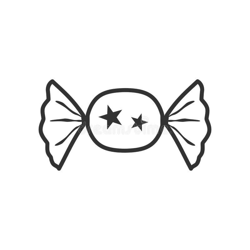 Icona piana del profilo saporito di Candy su bianco illustrazione vettoriale