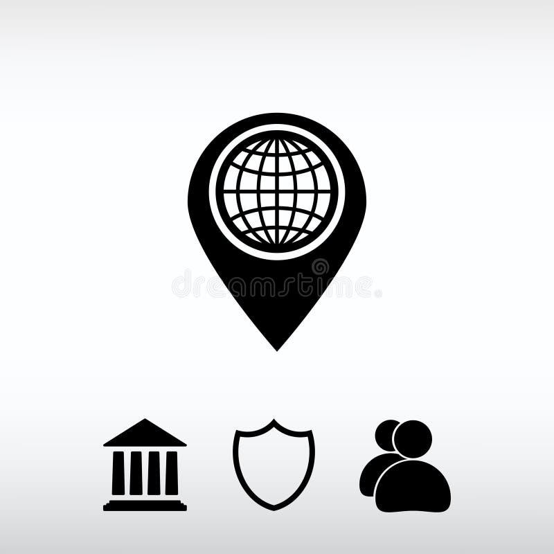 Icona piana del puntatore della mappa, illustrazione di vettore Stile piano di progettazione fotografie stock