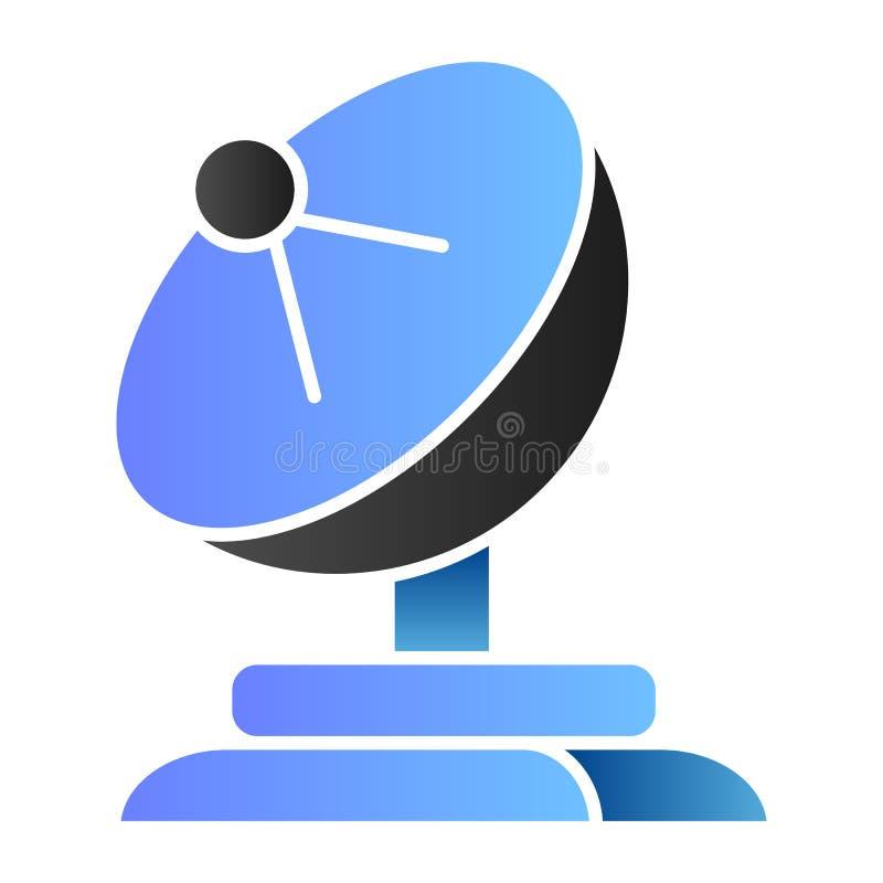Icona piana del riflettore parabolico Icone di colore dell'antenna nello stile piano d'avanguardia Progettazione di stile di pend royalty illustrazione gratis