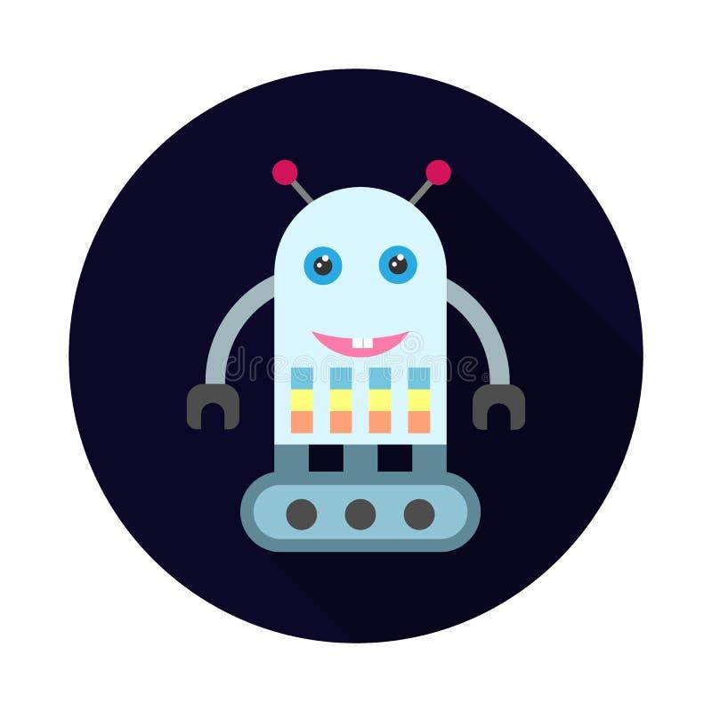 Icona piana del robot a macchina Illustrazione di vettore del fumetto illustrazione di stock