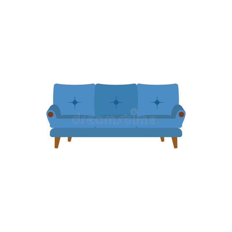 icona piana del sofà classico Modello di progettazione della stanza o dell'interno nello stile piano per i apps mobili di web e d illustrazione di stock