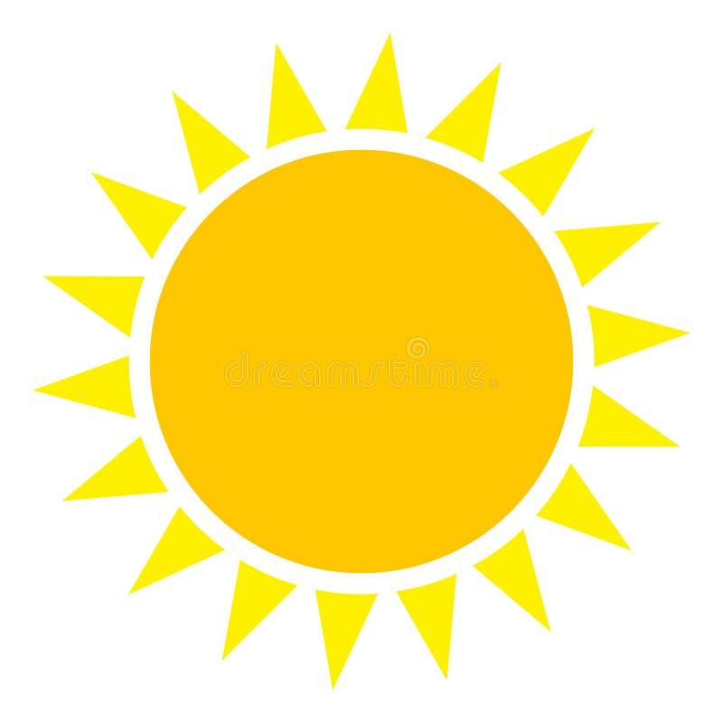 Icona piana del sole di vettore illustrazione di stock