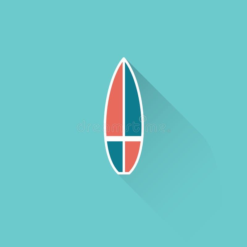 Icona piana del surf su fondo blu illustrazione di stock