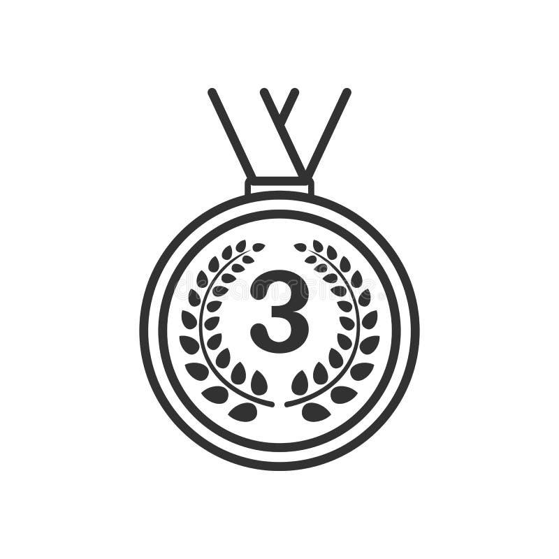 Icona piana del terzo del posto profilo della medaglia su bianco illustrazione di stock