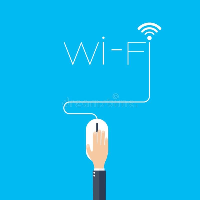Icona piana del topo del computer fondo di concetto di wifi illustrazione di stock