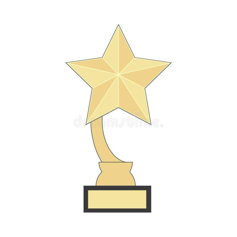 Icona piana del vincitore del premio dell'illustrazione - simbolo di conquista dell'oro del posto della concorrenza di successo i royalty illustrazione gratis