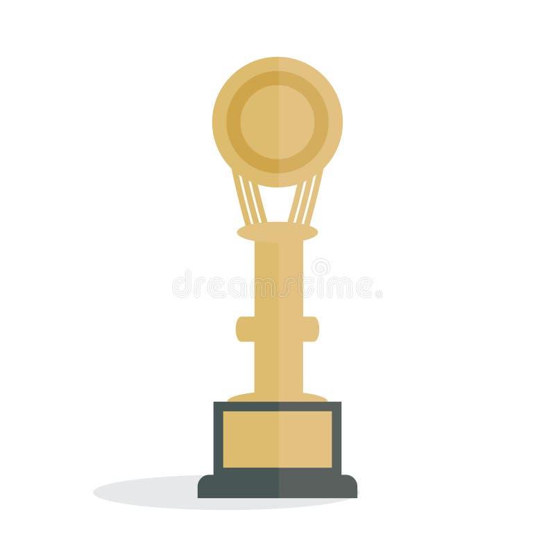 Icona piana del vincitore del premio dell'illustrazione - simbolo di conquista dell'oro del posto della concorrenza di successo i illustrazione vettoriale