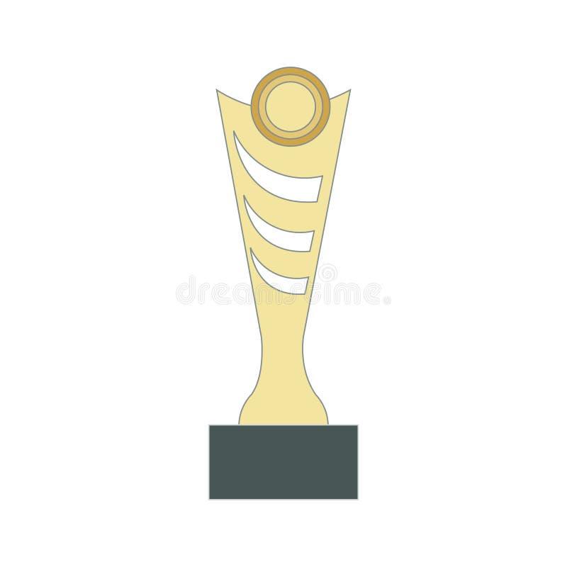 Icona piana del vincitore del premio dell'illustrazione - simbolo di conquista dell'oro del posto della concorrenza di successo i illustrazione di stock