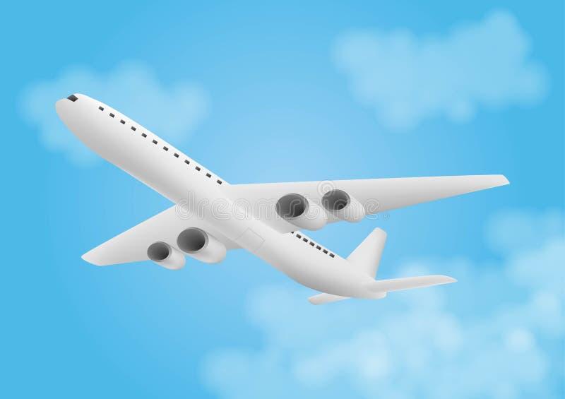 Icona piana dell'aeroplano di volo con le nuvole su cielo blu illustrazione vettoriale