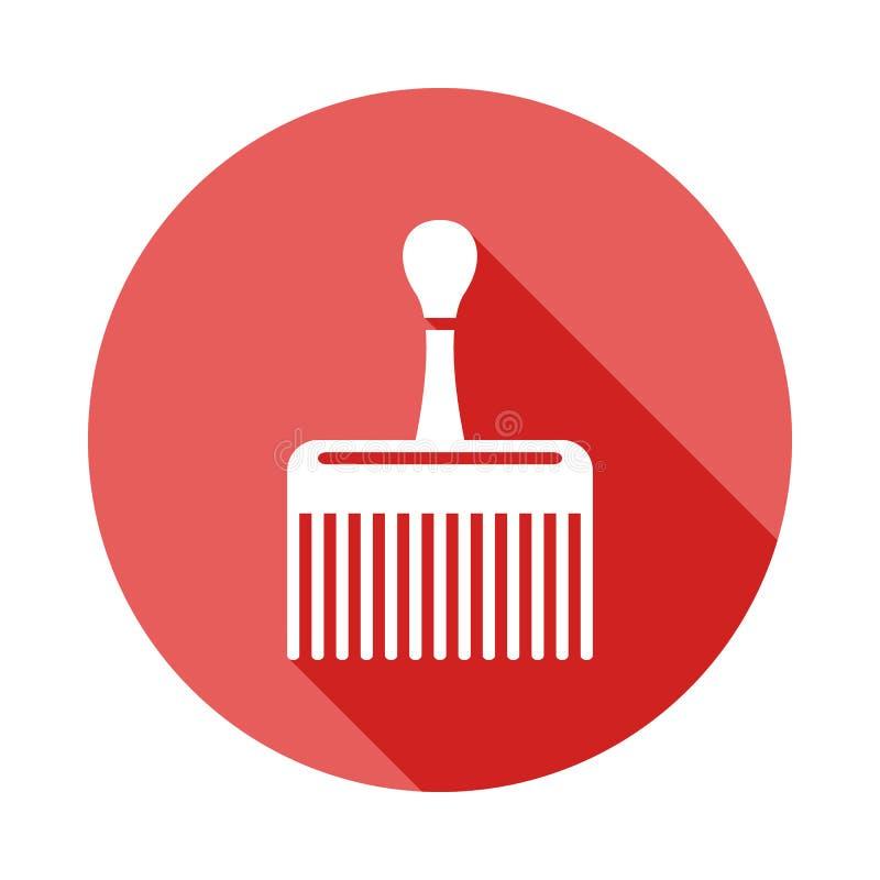 icona piana dell'ampia ombra lunga del pettine Elemento dell'icona del barbiere per i apps mobili di web e di concetto L'ampia ic illustrazione vettoriale