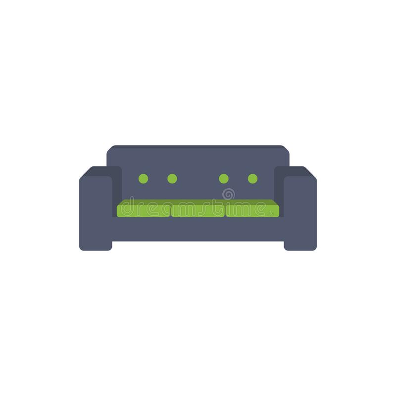 icona piana dell'ampio sofà Modello di progettazione della stanza o dell'interno nello stile piano per i apps mobili di web e di  illustrazione vettoriale