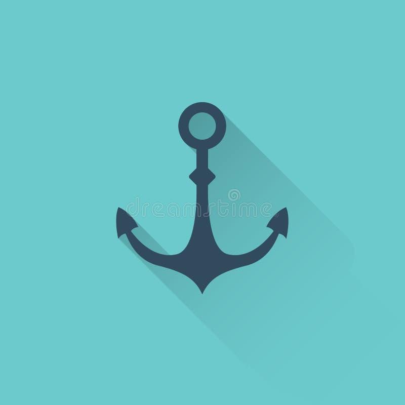 Icona piana dell'ancora su fondo blu illustrazione di stock