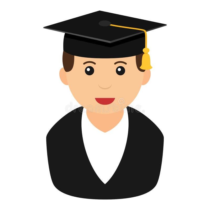 Icona piana dell'avatar graduato del ragazzo su bianco royalty illustrazione gratis