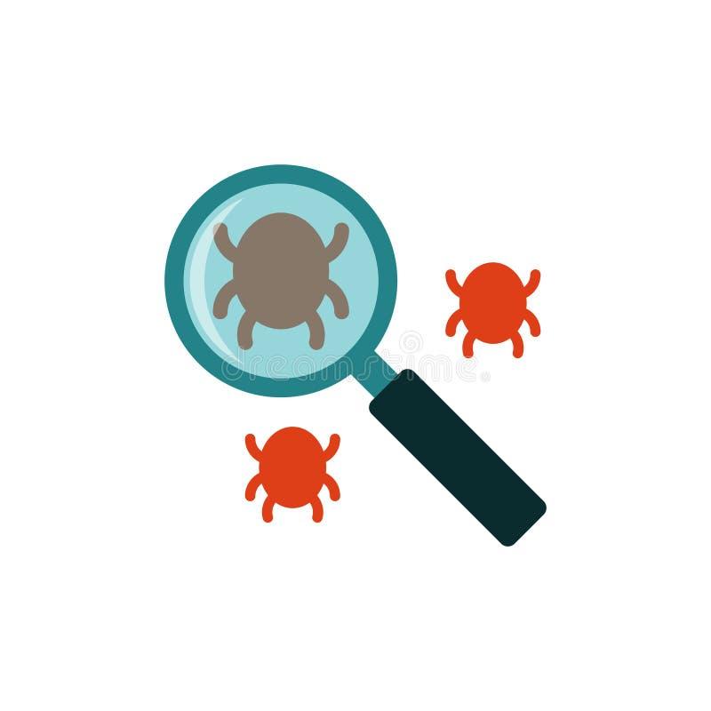 Icona piana dell'insetto di ricerca illustrazione di stock