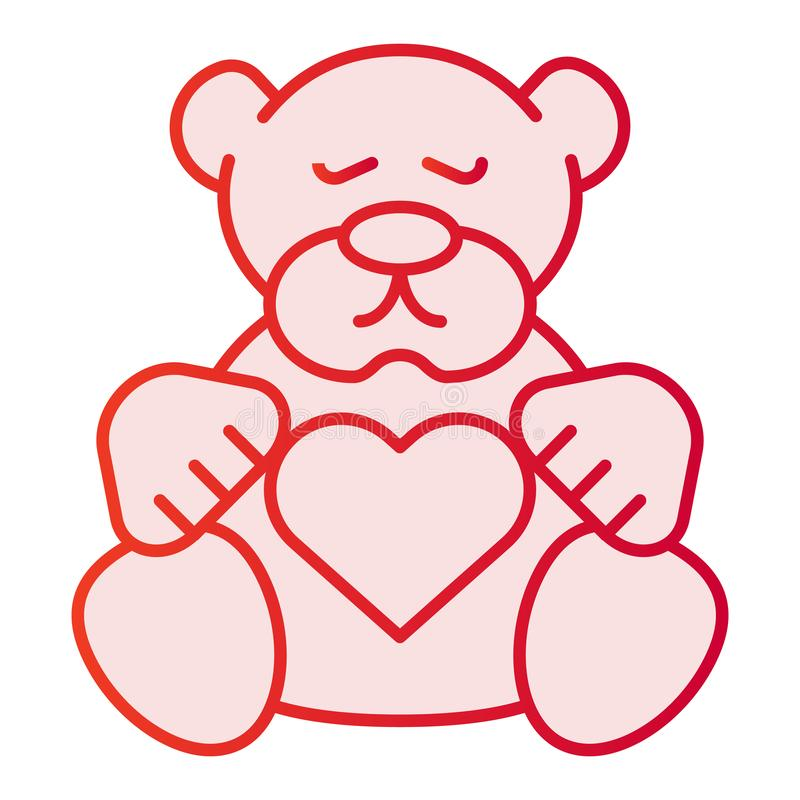 Icona piana dell'orsacchiotto Icone di rosa del giocattolo della peluche nello stile piano d'avanguardia Progettazione di stile d royalty illustrazione gratis