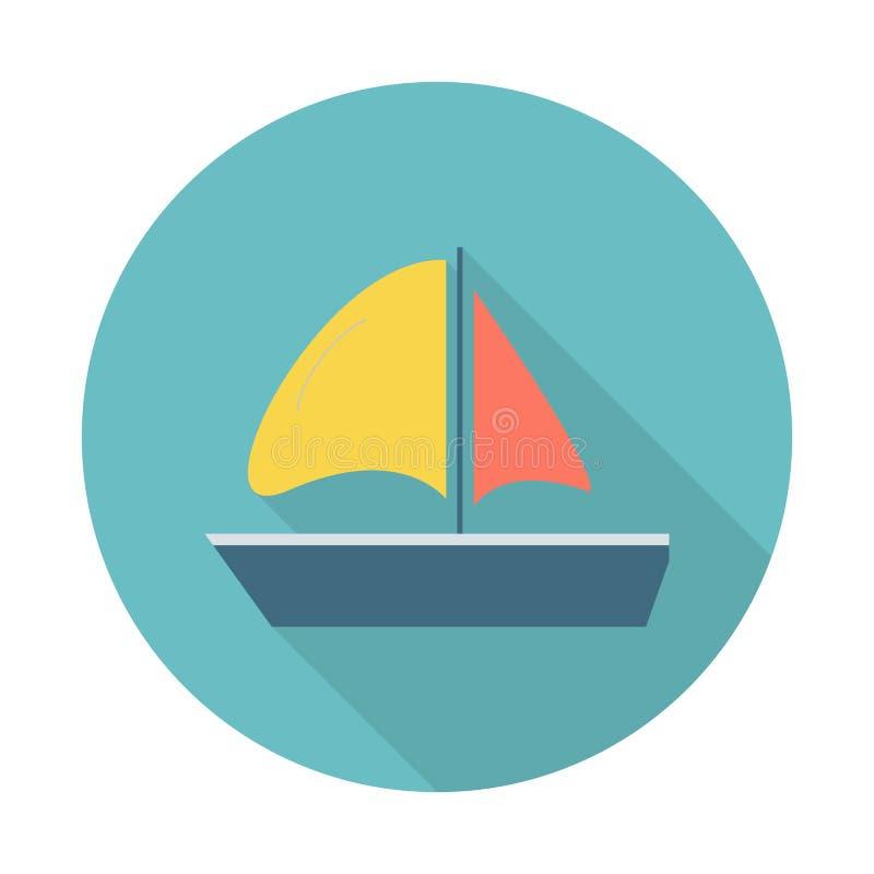 Icona piana dell'yacht di navigazione Icona piana dell'yacht di navigazione con le ombre lunghe per le applicazioni del cellulare illustrazione vettoriale