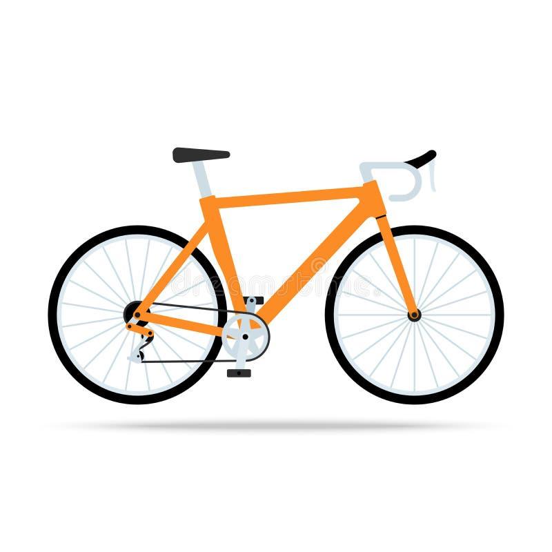 Icona piana della bicicletta arancio Vettore della bici isolato su fondo bianco illustrazione di stock