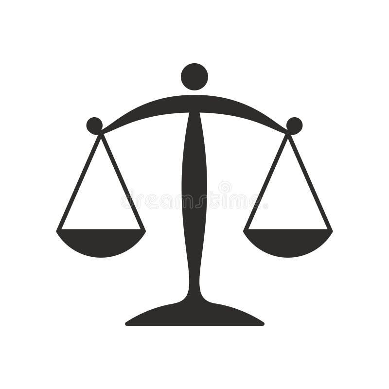 Icona piana della bilancia della giustizia royalty illustrazione gratis