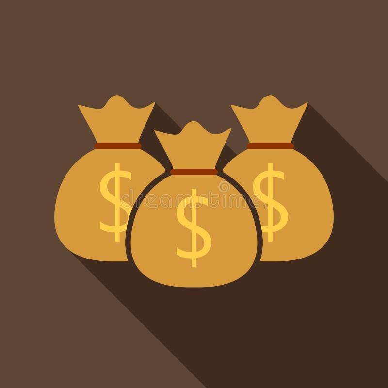Icona piana della borsa dei soldi illustrazione di stock